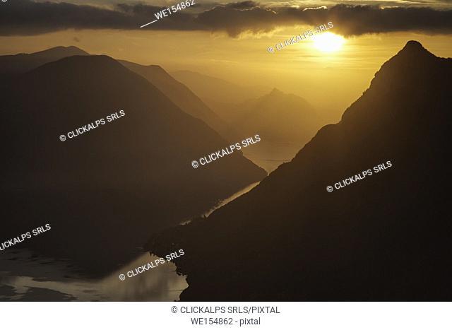 Sunset, Lugano Lake, lombardy, italy,switzerland