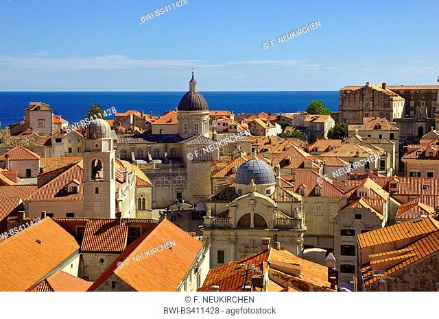 view from the city wall to the old town, Croatia, Dubrovnik
