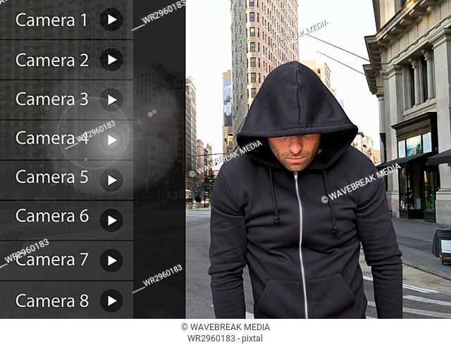 Criminal man on Security Camera App Interface street