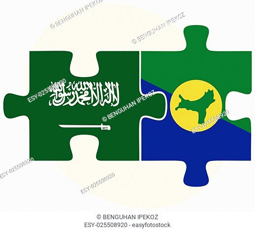 Saudi Arabia and Christmas Island Flags in puzzle isolated on white background