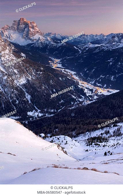 Europe, Italy, Veneto, Belluno, Val Fiorentina and Mount Pelmo at a winter sunset as seen from mount Pore, Dolomites