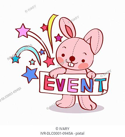 Cute looking pink rabbit with banner