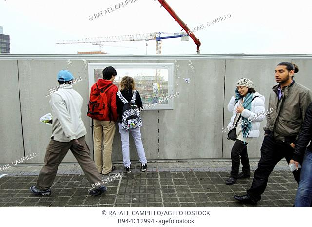 Looking at construction sites, Plaça de les Glories, Barcelona, Catalonia, Spain