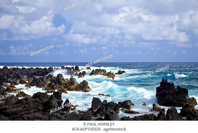 Waves and lava rocks, Maui, Hawaii