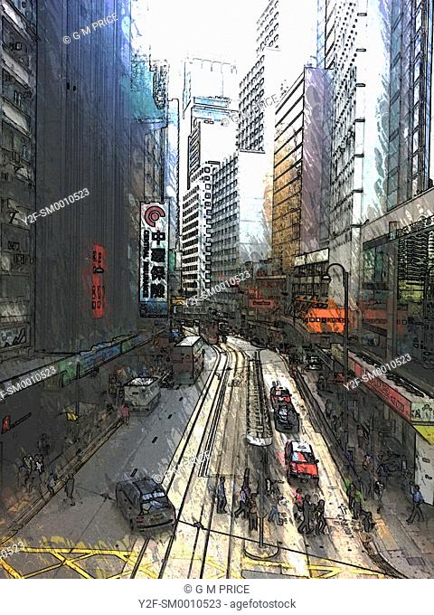 elevated and filtered view of traffic and office buildings in downtown Hong Kong