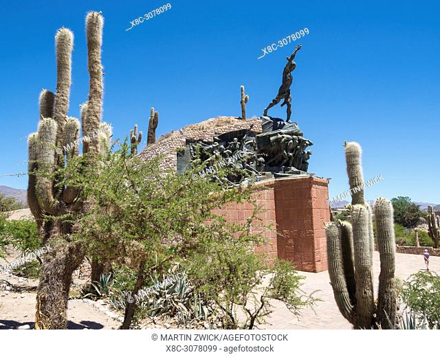 Iconic Monumento a los Heroes de la Independencia , memorial commemorating the battles for independence. Town Humahuaca in the canyon Quebrada de Humahuaca