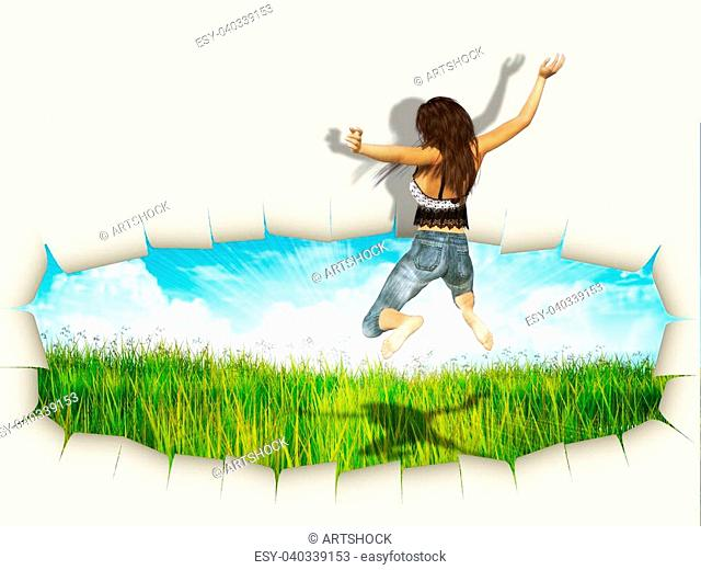 3d woman jumping out of hole in paper reveal grass field