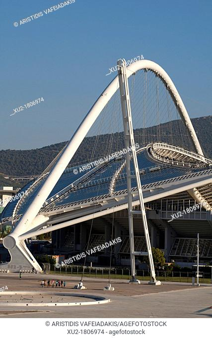 Greece, Attica, Athens, Maroussi, OAKA Olympic Stadium built in 2004 by architect Santiago Calatrava