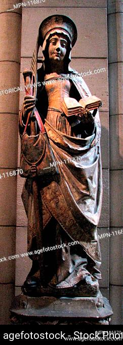 Saint Savina of Troyes or Saint Syra. Date: 1510-20; Geography: Made in Champagne, France; Culture: French; Medium: Limestone with paint; Dimensions: Overall...