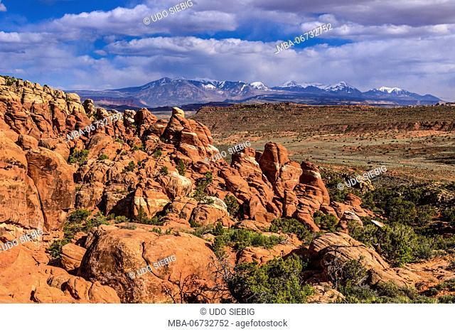 The USA, Utah, Grand county, Moab, Arches National Park, Fiery Furnace towards La Sal Mountains