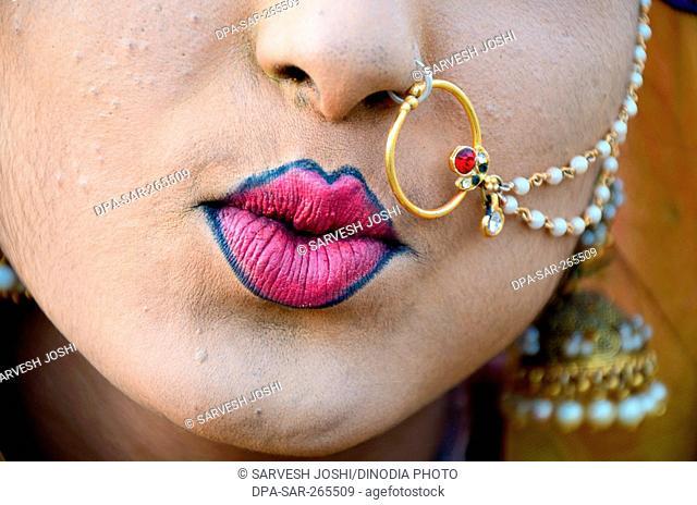 Woman lipstick and nose ring, Jaisalmer, Rajasthan, India, Asia