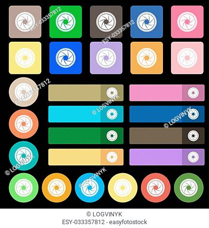diaphragm icon. Aperture sign. Set from twenty seven multicolored flat buttons. Vector illustration
