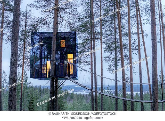 Accommodation in the woods, known as The Mirrorcube at the Tree Hotel in Lapland, Sweden