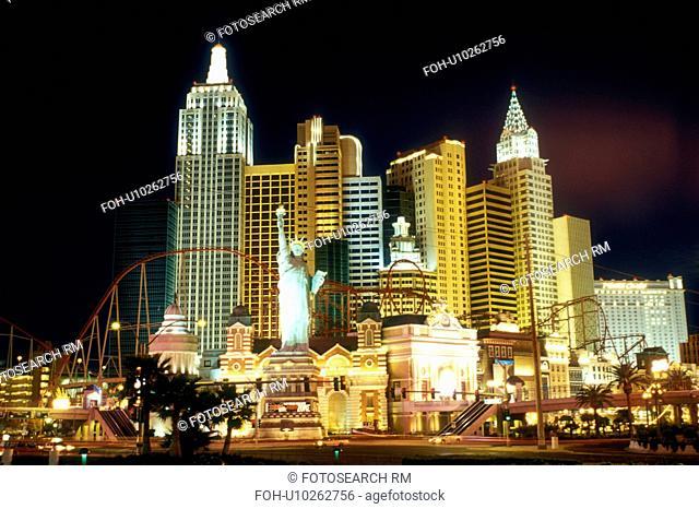 Las Vegas, NV, New York-New York, casino, Nevada, The Strip, New York-New York Hotel & Casino at night on The Strip in Las Vegas