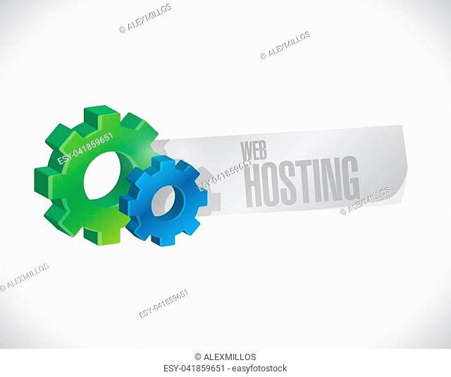 Web hosting industrial sign concept illustration graphic design