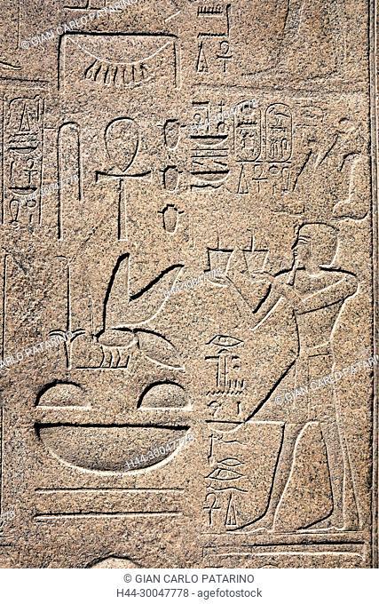 Karnak, Luxor, Egypt. Temple of Karnak sacred to god Amon: the pharaoh Tuthmosis III offers incense