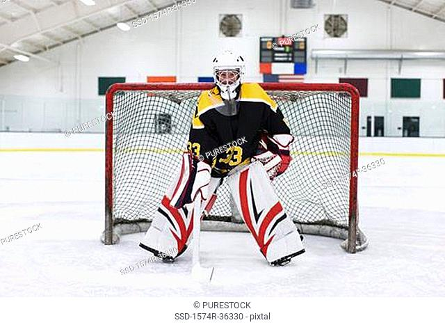 Ice hockey goalkeeper guarding goal