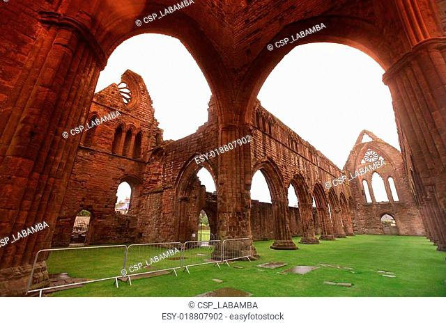 Sweetheart Abbey, ruined Cistercian monastery near to the Nith in Ruins of south-west Scotland, UK