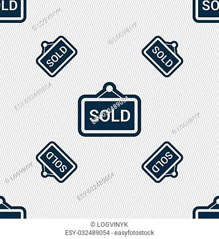 Sold icon sign. Seamless pattern with geometric texture. Vector illustration