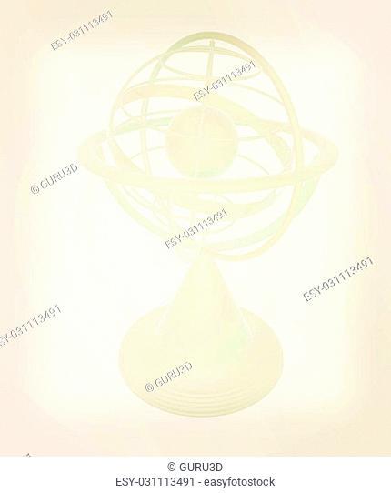 Terrestrial globe model . 3D illustration. Vintage style