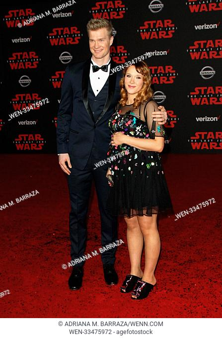 """Star Wars: The Last Jedi"" Premiere held at the Shrine Auditorium in Los Angeles, California. Featuring: Joonas Suotamo, Milla Pohjasvaara Where: Los Angeles"