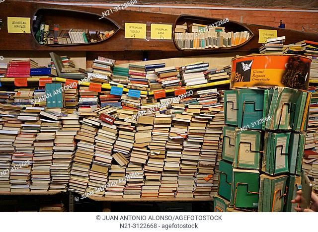 Acqua Alta Bookshop. Venice, Veneto, Italy, Europe
