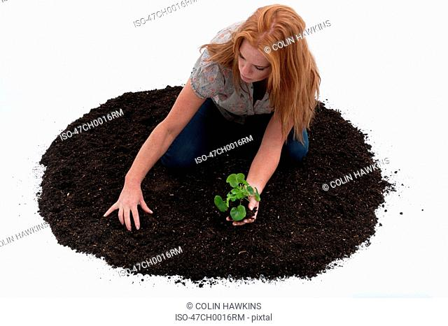 Woman planting seedling in pile of dirt