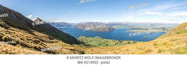View of mountains and lake, left Roys Peak, Lake Wanaka, Southern Alps, Otago Region, Southland, New Zealand