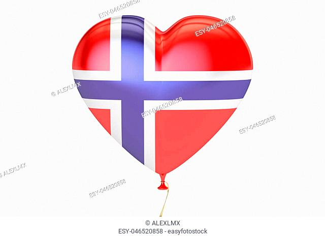 balloon with Norway flag in the shape of heart, 3D rendering