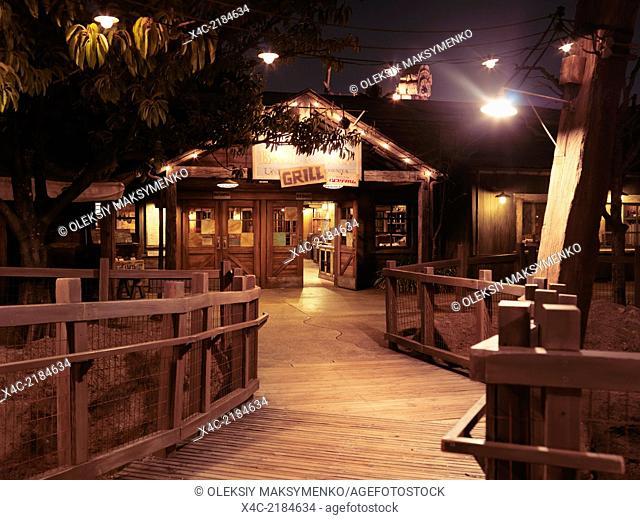 Yucatan Base Camp Grill, Mexican restaurant at Tokyo Disneysea, Japan. Nighttime scenic
