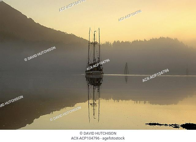 Ucluelut Inlet one foggy October morning, Ucluelet, Vancouver Island, BC, Canada