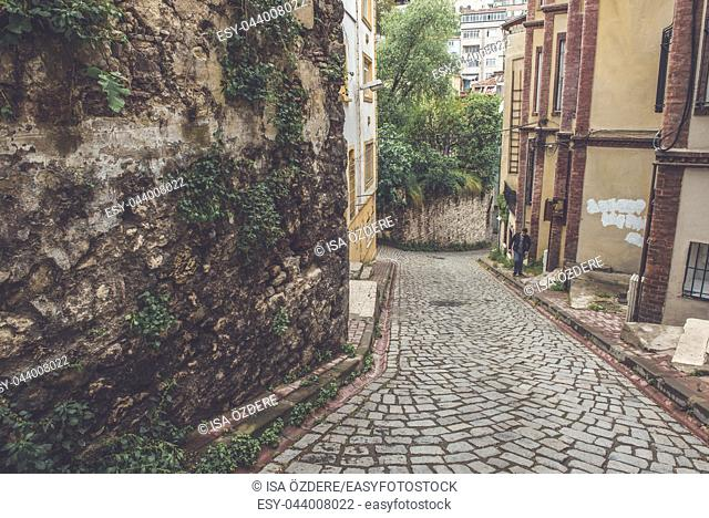 People walking at Traditional street of balat area. Street view in historical Balat district. Balat is popular attraction in Istanbul