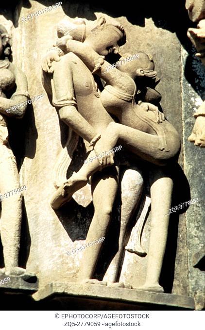 Khajuraho (india) Lakshmana temple wall lovers circa 950 A. D