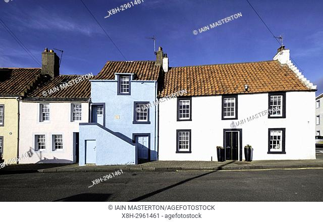View of traditional old houses at St Monans on East Neuk of Fife in Scotland, United Kingdom