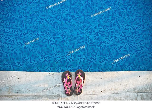 Flip-flops at poolside