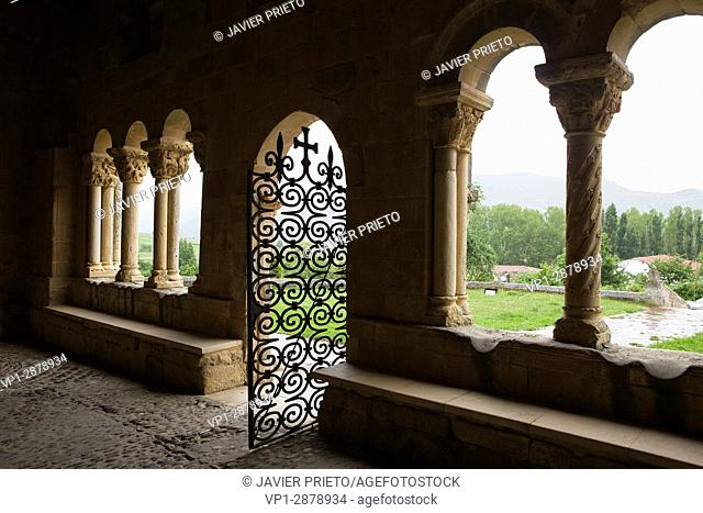Entrance to the portico of the church of San Julián and Santa Basilisa. Romanesque portico. Rebolledo de la Torre. Las Loras World Geopark