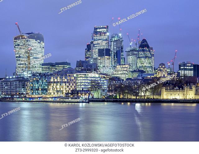 City of London at twilight, London, England, United Kingdom