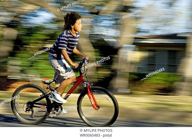riding down street