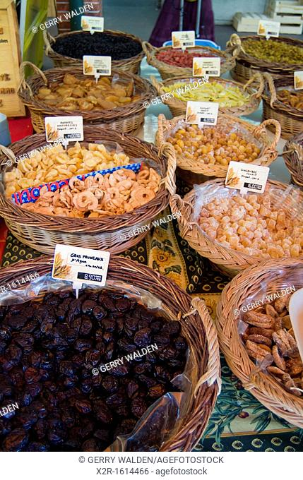 France - Savoie - Aix les bains - market - various dried and crystallised fruits for sale