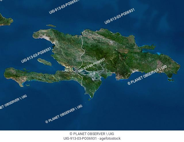 Satellite view of Haiti and The Dominican Republic. This image was compiled from data acquired by Landsat satellites