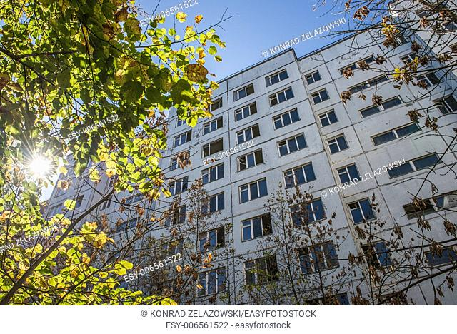 Apartment house in Pripyat town, Chernobyl Nuclear Power Plant Zone of Alienation, Ukraine