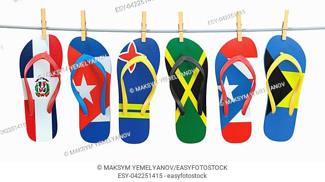 Hanging flip flops in colors of flags of different carribean countries Aruba, Bahamas, Cuba, Dominicana, Jamaica, Puerto-Rico