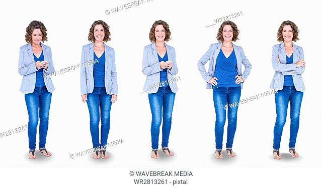 Multiple image of woman standing in various poses