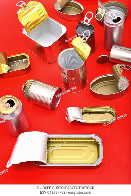 view of tin can isolated on red