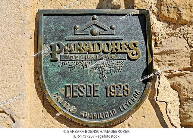 Parador, hotel, sign, Palacio Viejo, old castle, Olite, Pamplona, Navarra, Spain, Europe