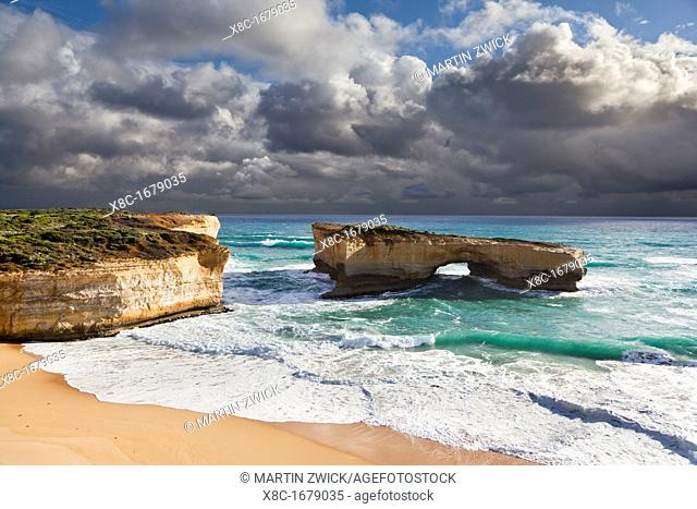 London Arch at the Great Ocean Road, Australia, during storm and evening light Until 1990 this rock formation was called London Bridge