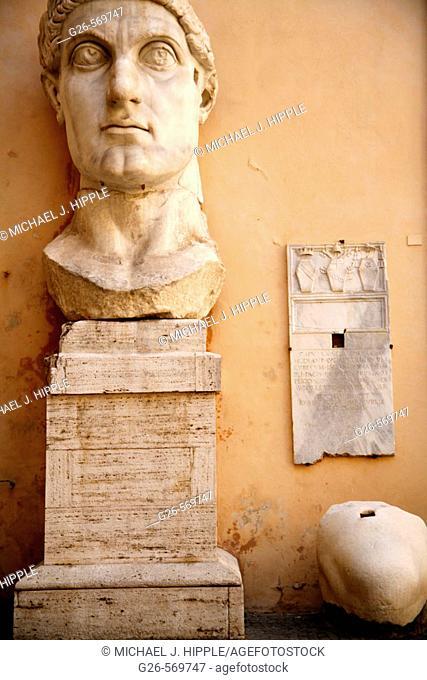 Remains of statue of Emperor Constantine II at courtyard of Palazzo dei Conservatori, Capitoline Museum. Rome. Lazio, Italy