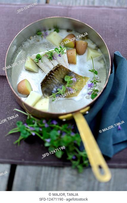 Carp with potatoes and ground ivy