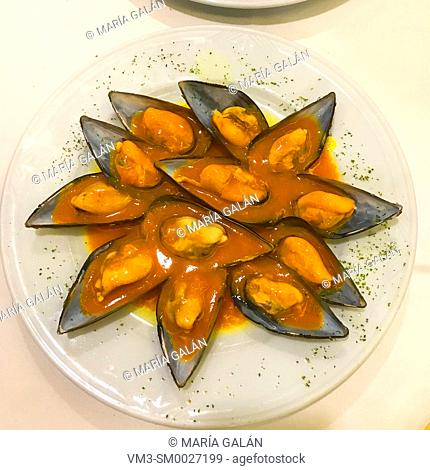 Mussels with cider sauce. Asturias, Spain