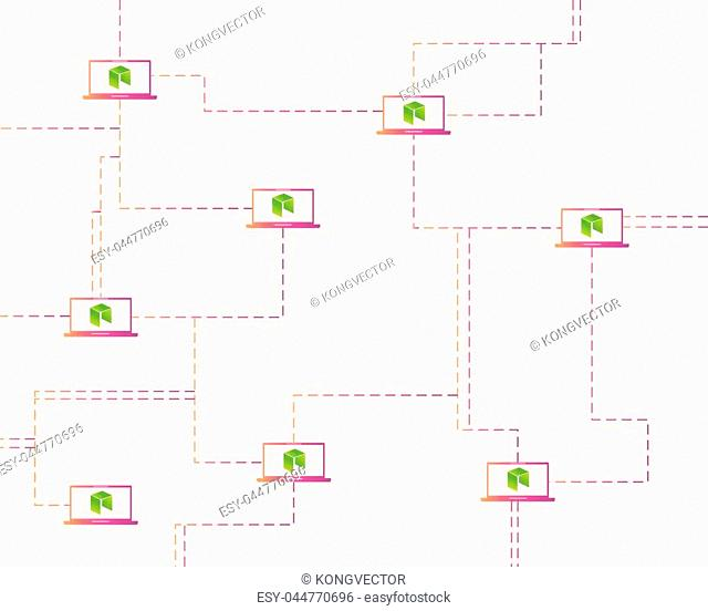 Cryptocurrency NEO style networking background vector illustration